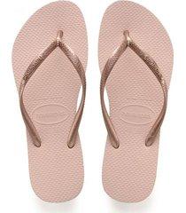 sandalias chanclas havaianas para mujer oro rosa slim