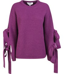 ribbed knit bow sleeve detail sweater