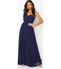 bridesmaid occasion one shoulder detail maxi dress, navy