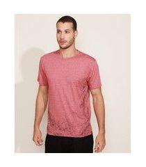 camiseta masculina floral manga curta gola careca vermelha