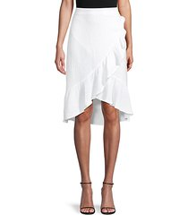 textured gauze ruffle-trim skirt