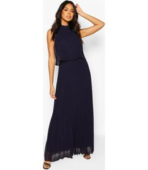 bridesmaid occasion pleated double layer maxi dress, navy