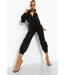 utility jumpsuit met bandjes en rits, black