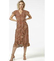 freebird mini-flower-pes-01 midi dress short sleeve rosy midi orange