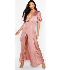 boutique kimono maxi satin bridesmaid dress, rose