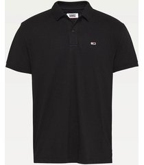 polera polo classics solid stretch negro tommy jeans
