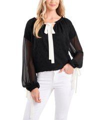 cece floral-embroidered tie-neck top