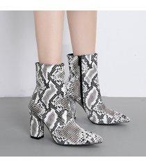 stivaletti alla caviglia con punta a punta e cerniera con stampa leopardata