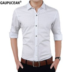camisas formales manga larga algodón para hombre-blanco