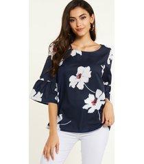 yoins blusa azul marino con mangas acampanadas y estampado floral al azar