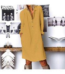 zanzea mujer de manga larga casual llanura de la blusa de botones de cuello largo flojo de la camisa de vestido más del tamaño -amarillo