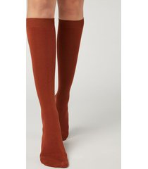 calzedonia long socks with cashmere woman burgundy size 36-38