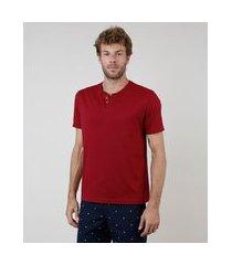 camiseta masculina básica manga curta gola portuguesa vermelho escuro