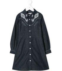 bonpoint embroidered denim dress - blue