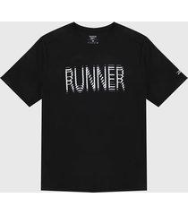 camiseta negro-blanco reebok run essentials