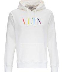 valentino jersey hoodie with vltn logo print
