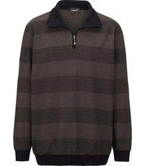 sweatshirt men plus zwart::donkerbruin
