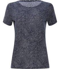 camiseta estampado asimetrico color azul, talla l