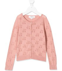 bonpoint cherry embroidered cardigan - pink