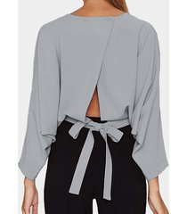 grey crew cuello blusa con abertura en la espalda y mangas de murciélago
