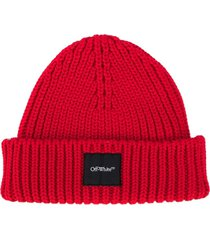 off-white logo-patch chunky-knit beanie - red