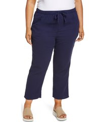 caslon(r) textured cotton pull-on pants, size 1x in navy peacoat at nordstrom