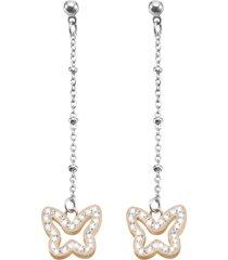 orecchini farfalla in acciaio bicolore e cristalli per donna