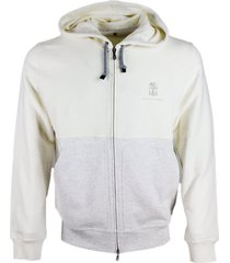 brunello cucinelli sweatshirt with zip and two-tone hood with cotton logo