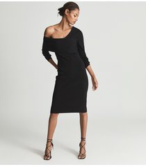 reiss ella - asymmetric bodycon dress in black, womens, size xl