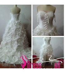 luxury high low wedding dress,feathers wedding dress,bridal dress,white wedding