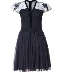 sukienka z czarnego tiulu w groszki
