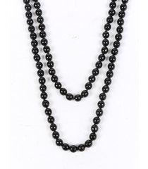 chanel black faux pearl beaded gripoix brooch pendant necklace black/silver/geometric sz: