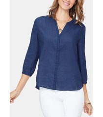 nydj indigo pintuck blouse