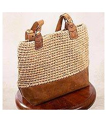 leather-accented crocheted shoulder bag, 'costa maya' (mexico)