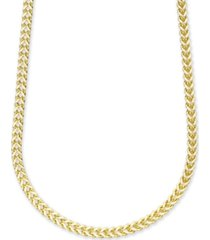 "men's polished square franco link 22"" necklace in 10k yellow gold"