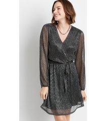 maurices womens black metallic wrap tie waist mini dress