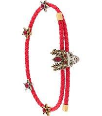 alexander mcqueen woven skull friendship bracelet - red