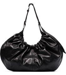 ganni ruched shoulder bag - black