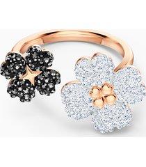 anello latisha, nero, placcato color oro rosa