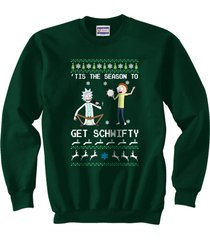 tis the season to get schwifty ugly sweater rick and morty sweatshirt forest
