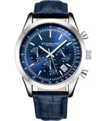 stuhrling original men's quartz chronograph date watch, silver tone alloy case, blue dial, blue leather strap