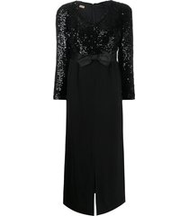 a.n.g.e.l.o. vintage cult 1960s sequin embroidered bow dress - black