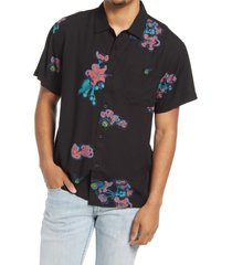 men's obey floral short sleeve button-up camp shirt, size small - black