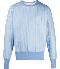 ambush embroidered logo quilted sweatshirt - blue
