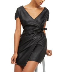 real leather wrap dress dress cocktail party women leather dress