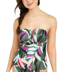 hula honey juniors' hyper tropics printed bandeau tankini top, created for macy's women's swimsuit
