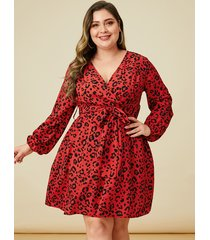 vestido de manga larga con estampado animal rojo talla grande yoins