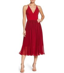 women's dress the population alicia mixed media midi dress, size small - red