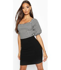 stretch woven feature sleeve gingham dress, gingham