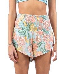 rip curl la bonita beach smock shorts, size medium in coral/teal at nordstrom